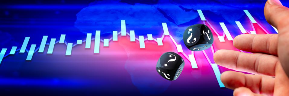 Hand Throwing Two Black Dice With White Question Marks