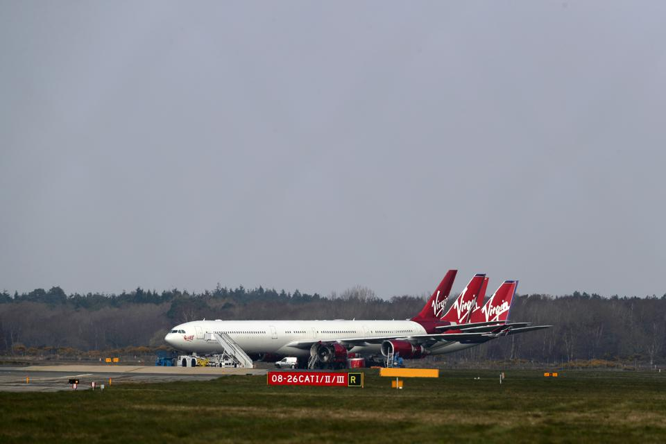 Grounded Planes At Bournemouth Airport Due To Coronavirus Pandemic