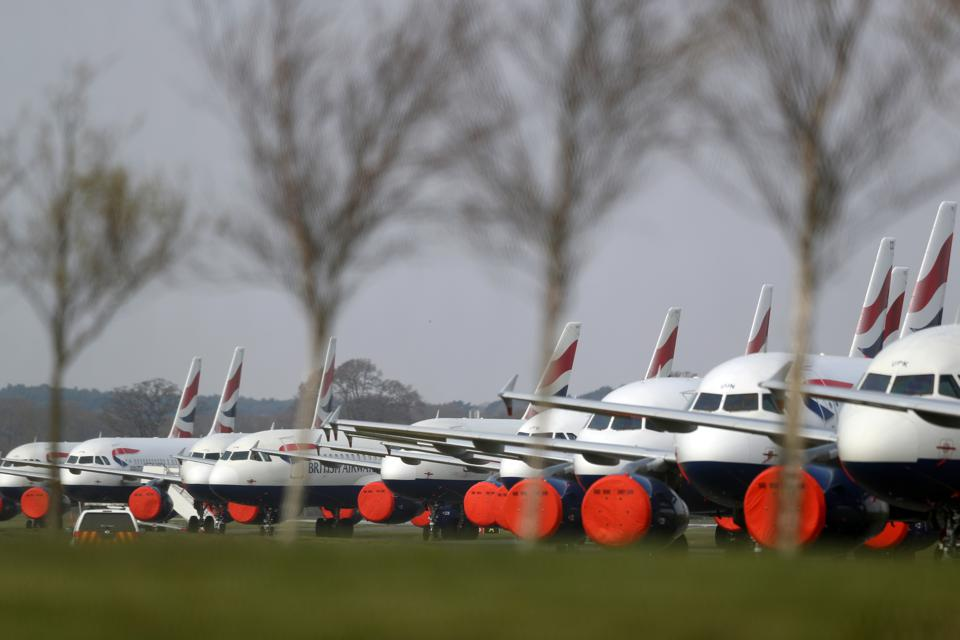 Grounded planes at Bournemouth Airport due to coronavirus pandemic.