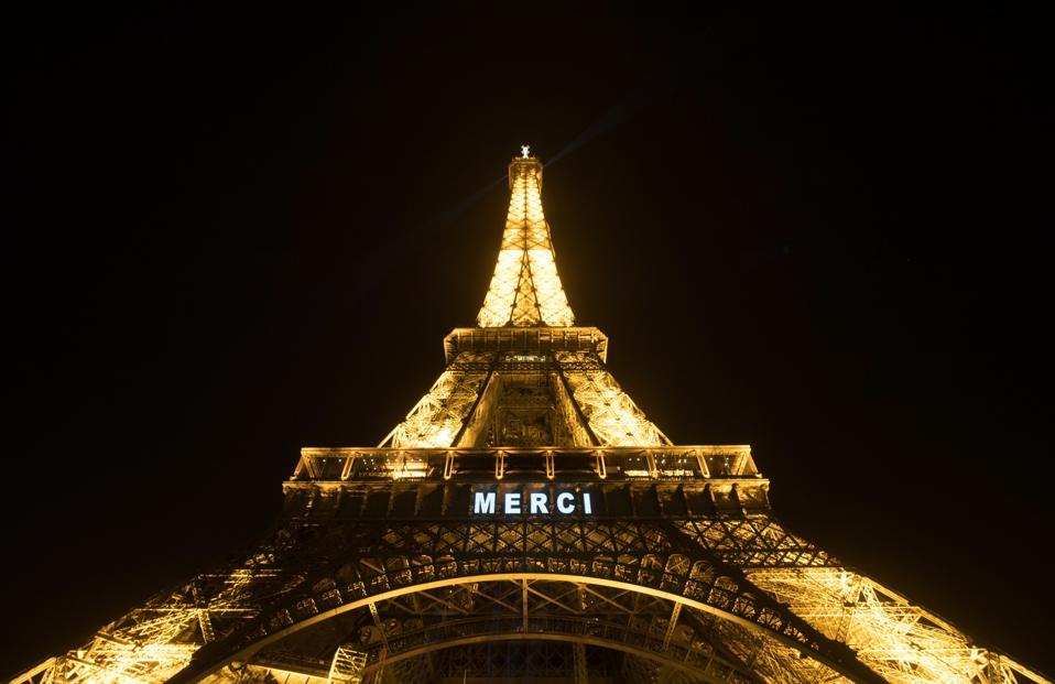 Eiffel Tower Paris France Thank you messages health workers Coronavirus Lockdown