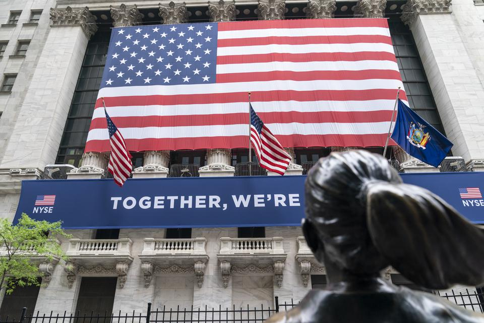 View of New York Stock Exchange on first day of reopening of...