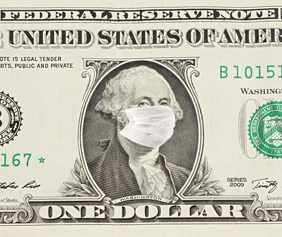 One Dollar Bill With Medical Face Mask George Washington