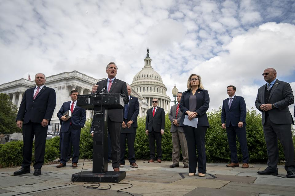 House Minority Leader Kevin McCarthy And House Leadership Hold News Conference At U.S. Capitol