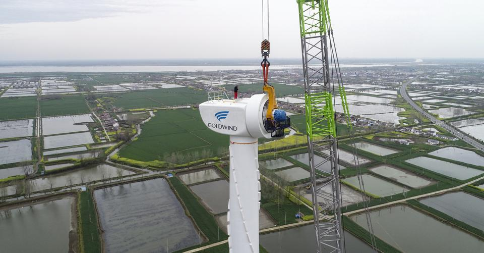Wind turbine under construction in Huai'an, China.