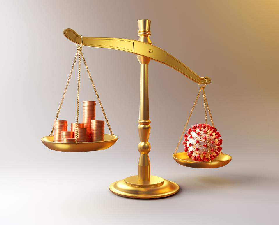Pandemic financial crisis symbol scales of justice weights