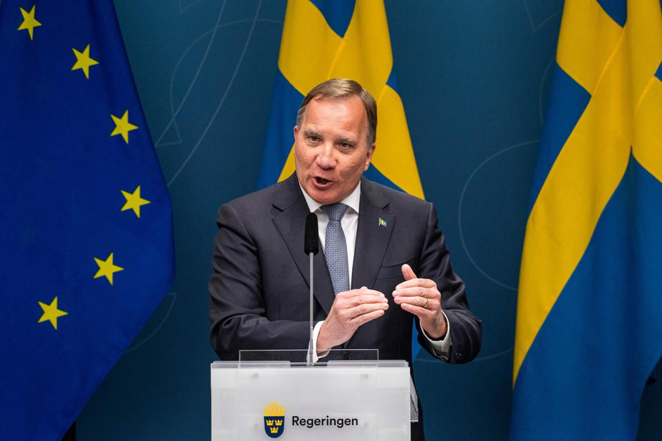 The Swedish Prime Minister Stefan Lofven speaks at a government press conference.