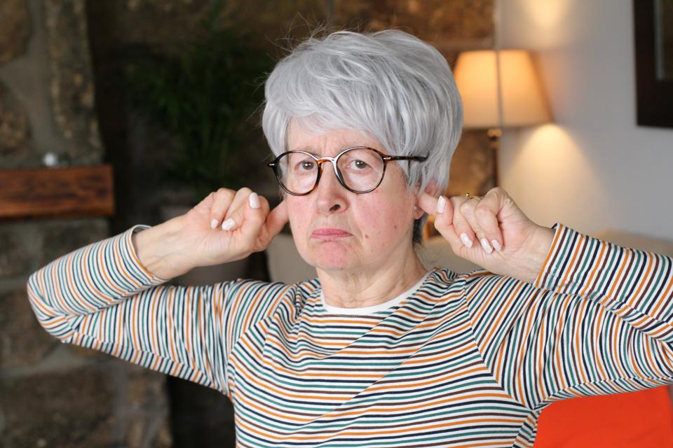 Stubborn senior lady at home