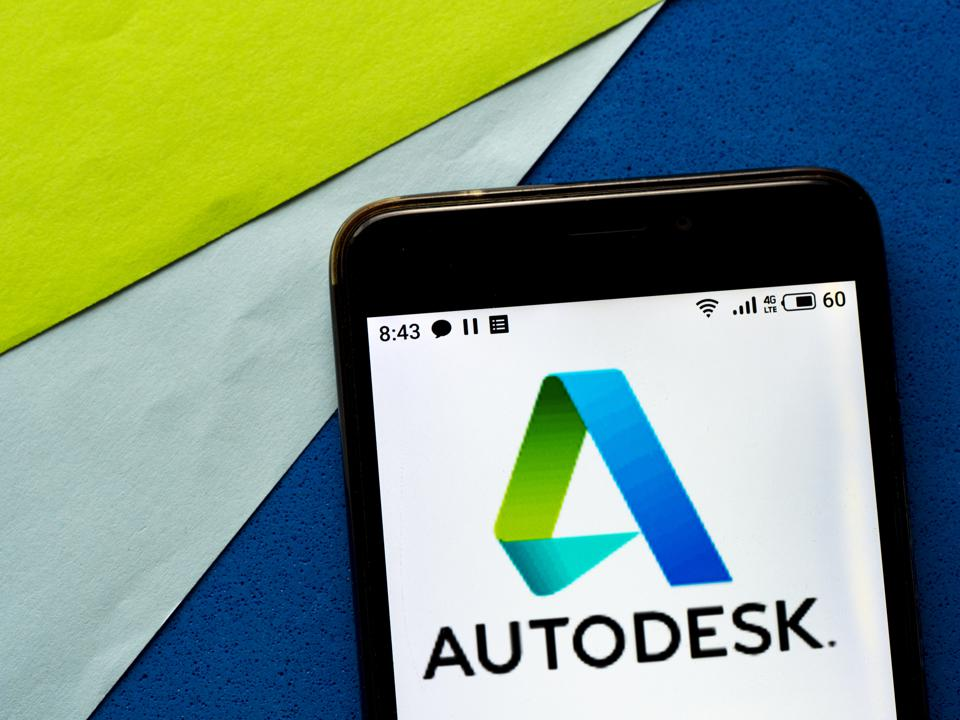 In this photo illustration an e-commerce  Autodesk logo is...