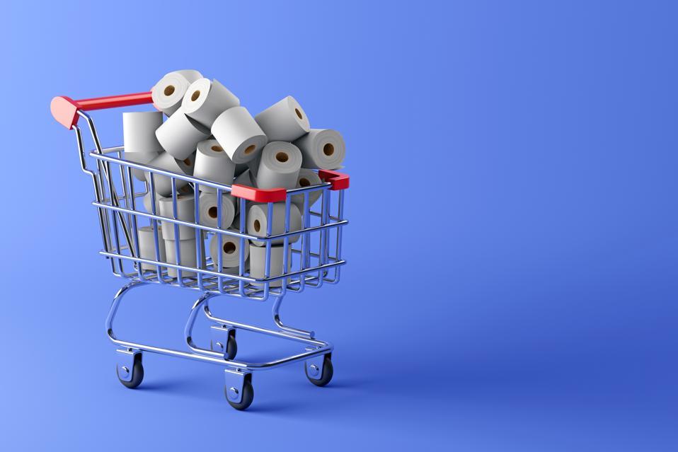 Shopping cart full of toilet paper