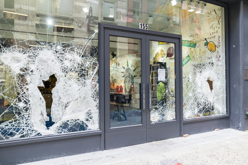 View of Dolce & Gabbana store. Looting and destruction...