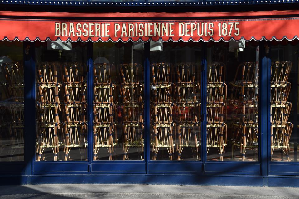 A closed Parisian brasserie on April 05, 2020 in Paris, France.