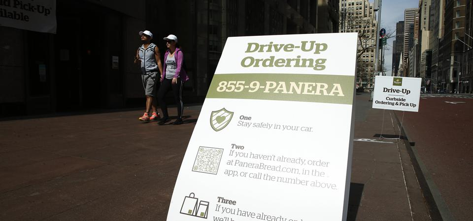 A Panera Bread shop in New York City offers drive-up orders amid the coronavirus pandemic.