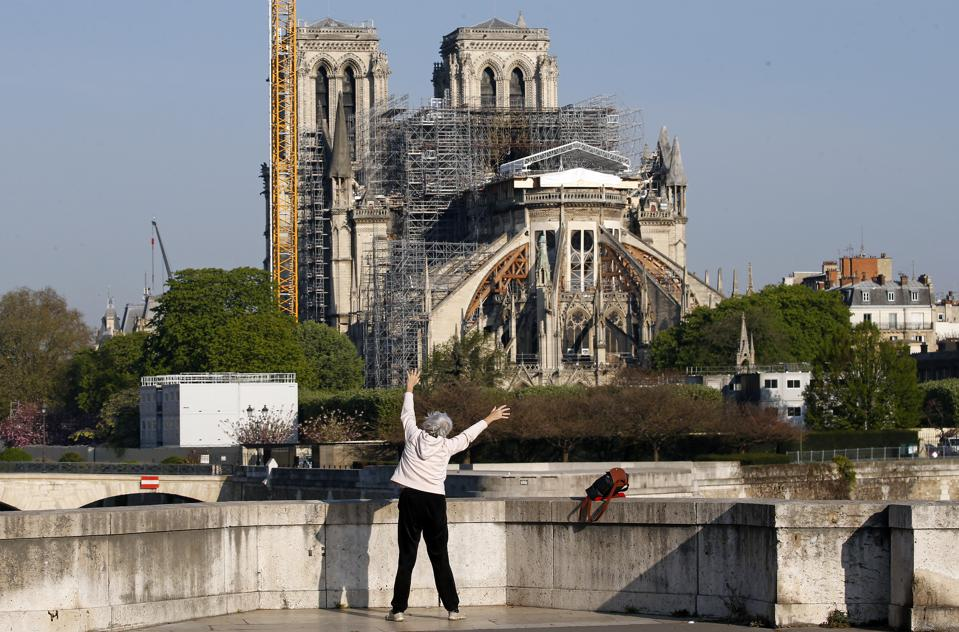 Notre Dame Cathedral in Paris Coronavirus Lockdown Easter Friday Service