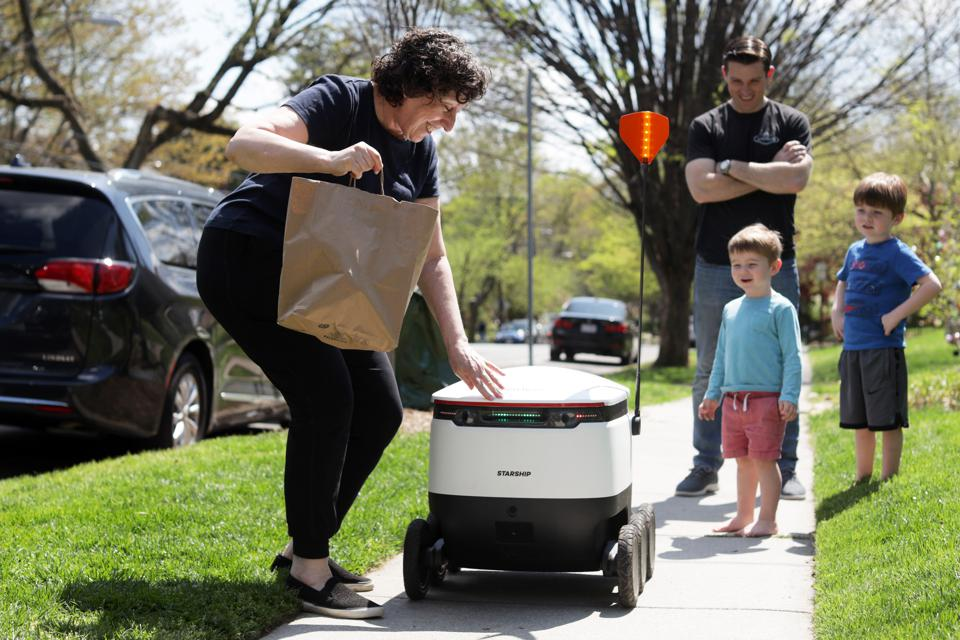 Market Uses Robots To Deliver Orders To Limit Social Contact During Coronavirus Pandemic