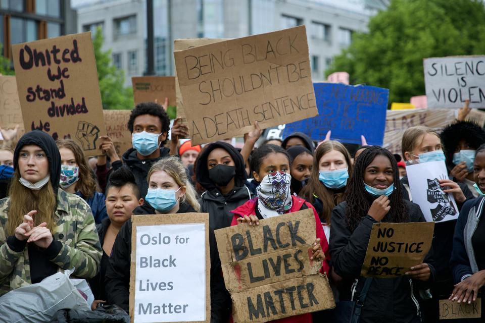 Black Lives Matter demonstration in Oslo, Norway.