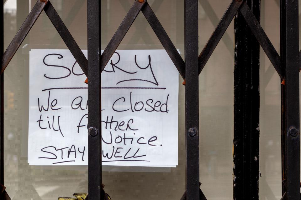NYC - Closed Till Further Notice Sign - Coronavirus