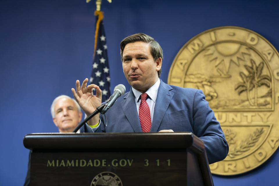 Florida Governor DeSantis And Government Officials Give Hurricane Season Update At Miami-Dade Emergency Operations Center