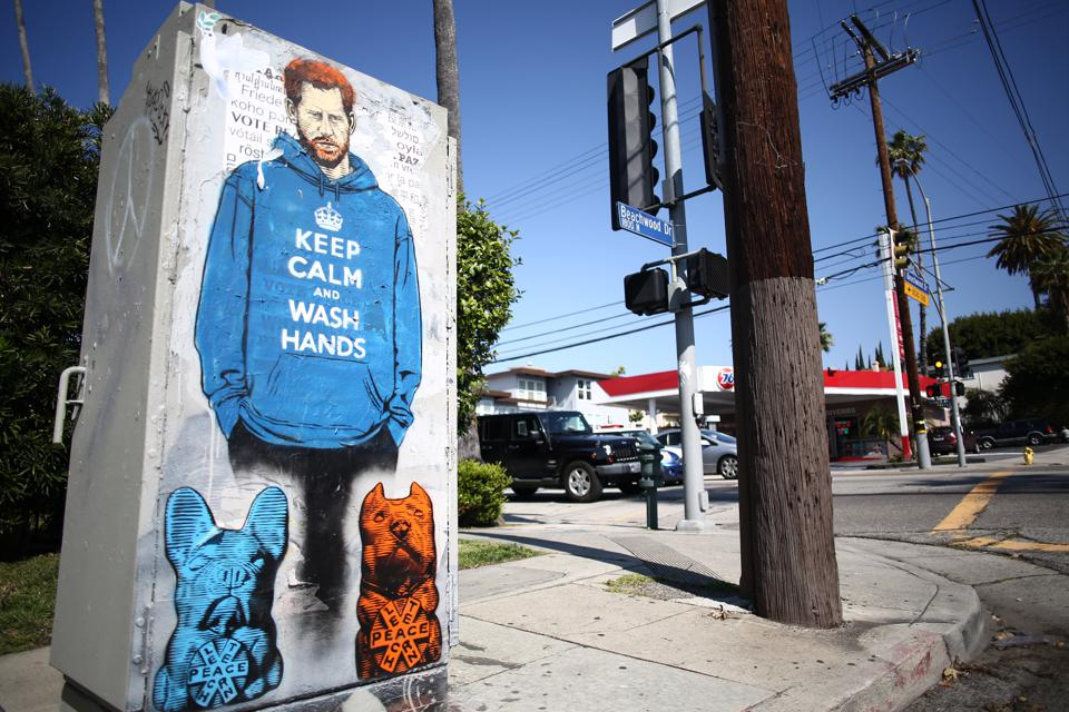 A Graffiti Mural Of Prince Harry Appears In Los Angeles During Coronavirus Pandemic