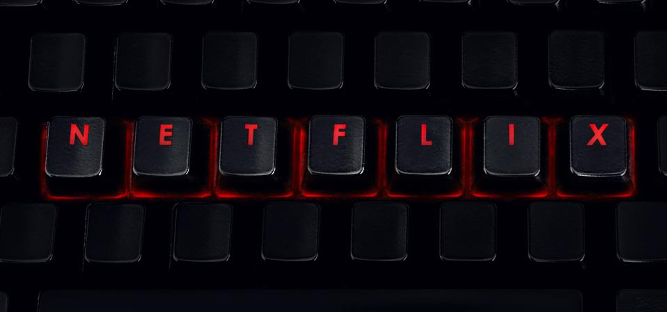 Netflix - Letters on red backlit keyboard, closeup