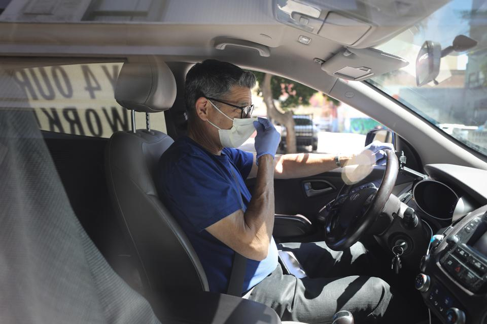 Transportation Union And Rideshare Drivers United Members Hold Rolling Vehicle Protest Calling On State To Enforce AB5