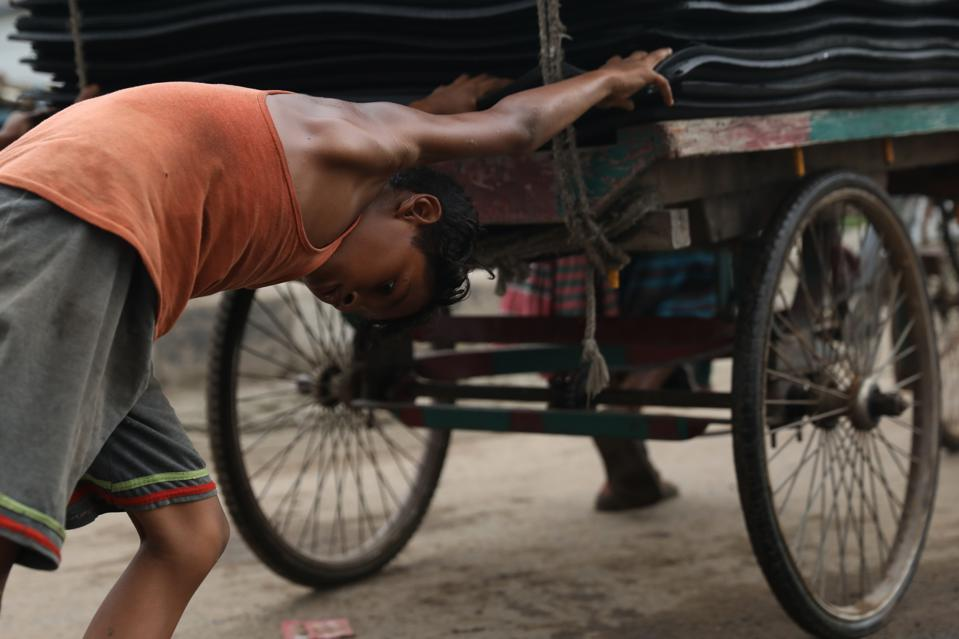 13 year old, Nazmul Hossain a child labourer earns tk 200...