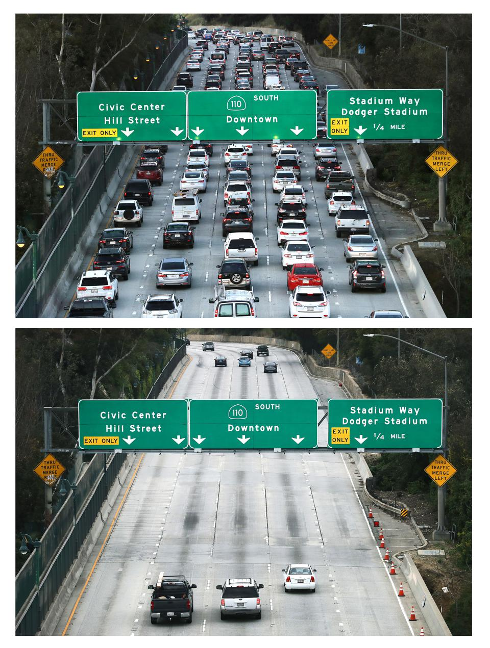 Then And Now: Los Angeles' Freeways Empty Out During Coronavirus Pandemic