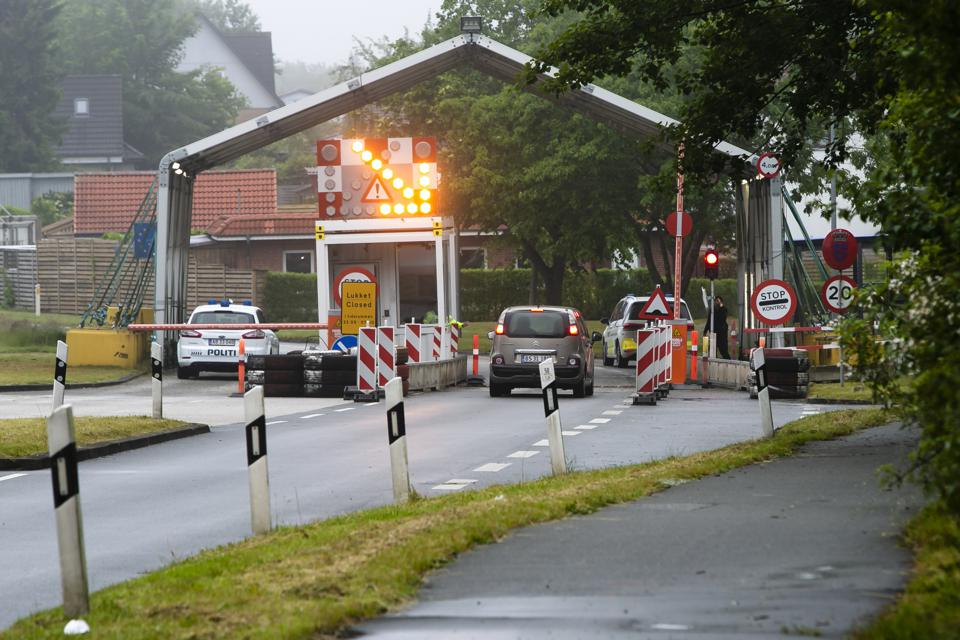 Schleswig-Holstein, Harrislee at a border crossing in Denmark before the tourist rush expected from Monday 15 June onwards.