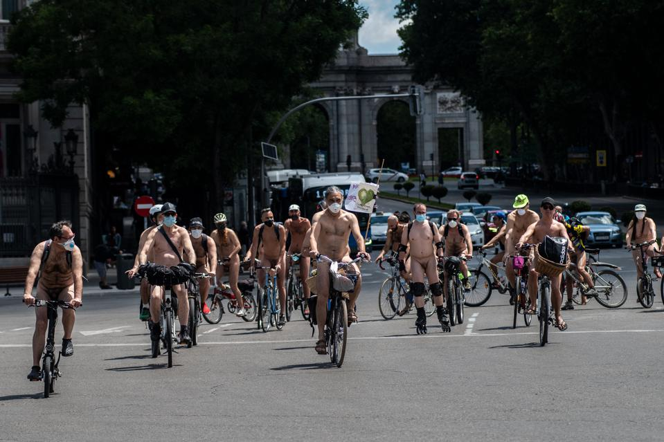 Naked cyclists, in Madrid