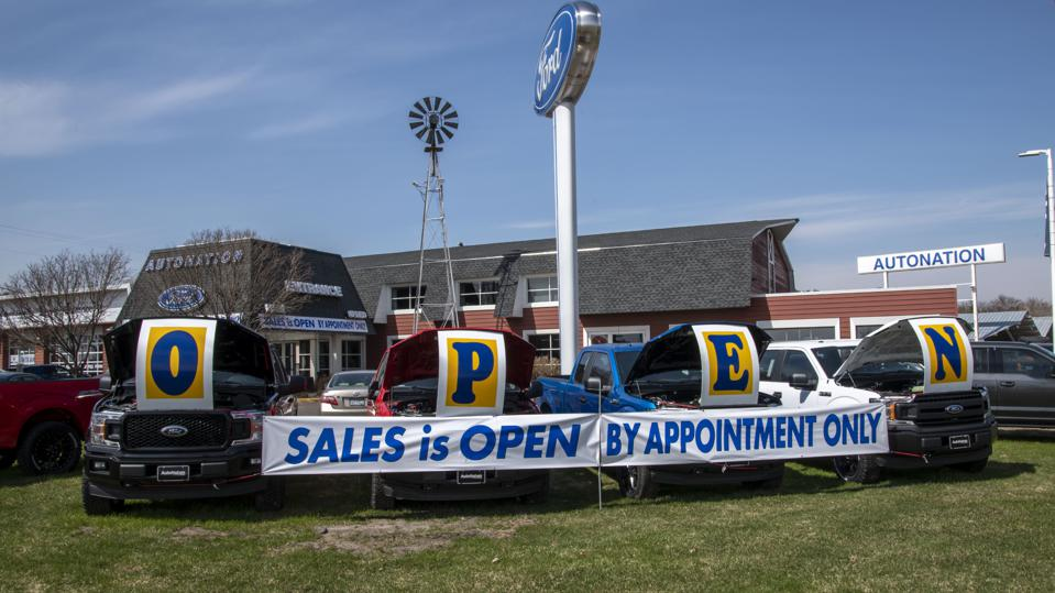 White Bear Lake, Minnesota, A car dealership offers appointment only car sales after the coronavirus pandemic shut down their showroom.