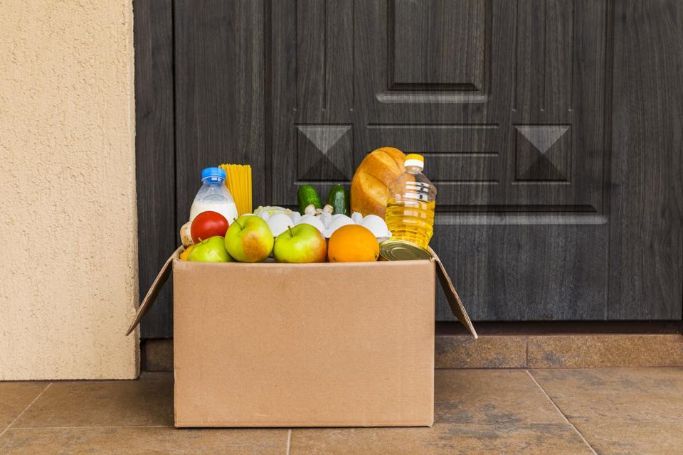 Food box under the door. Contactless Food Delivery