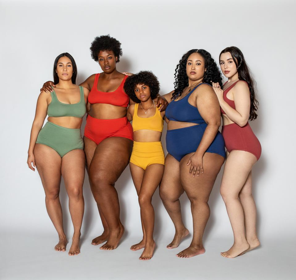 Group of women with different body type in underwear