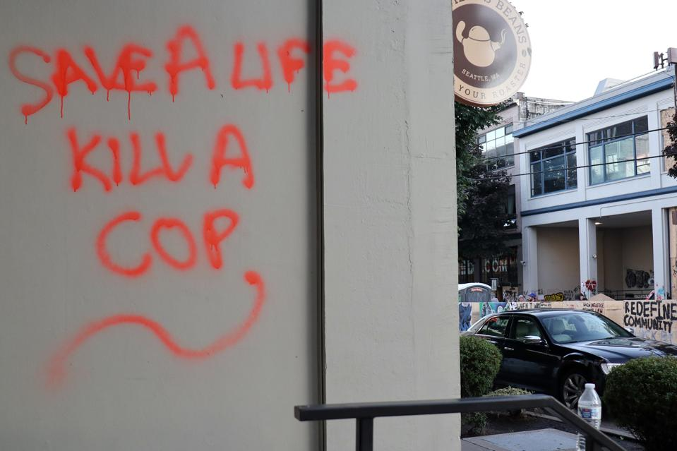 Graffiti on a building inside the so-called ″Capitol Hill...