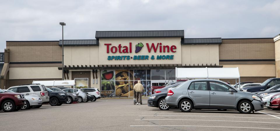 People stocking up at Total Wine liquor store before the nation shuts down due to the coronavirus pandemic, Roseville, Minnesota.