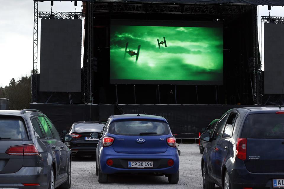 Drive-in cinema featuring Star Wars Episode IX in Aarhus, Denmark.
