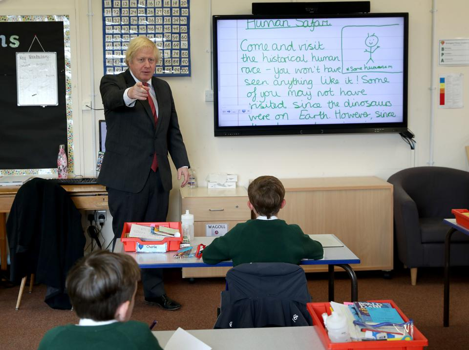 Boris Johnson Visits a Primary School As The Government Announces £1 Billion Pupil Catch Up Plan