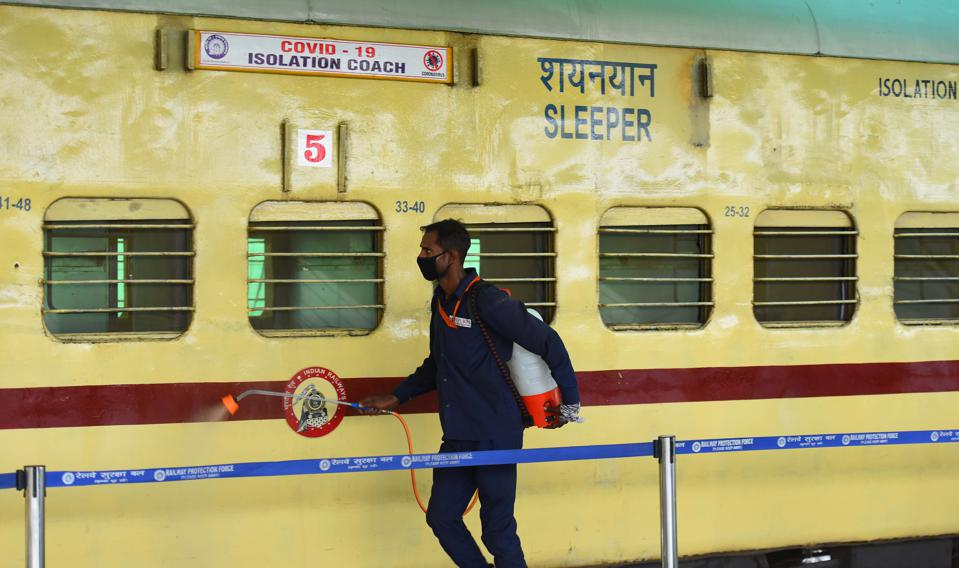 India Enters Phase 2. Train disinfected and converted to an isolation ward for COVID.