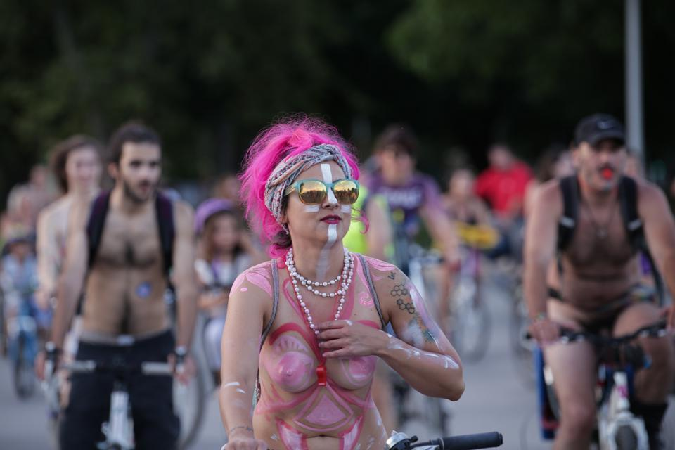 Naked bicycle riders In Thessaloniki, Greece.