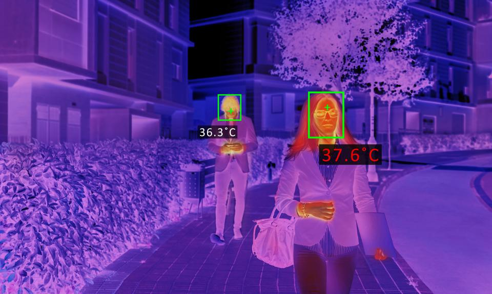 Thermal screen scanner checking people temperature