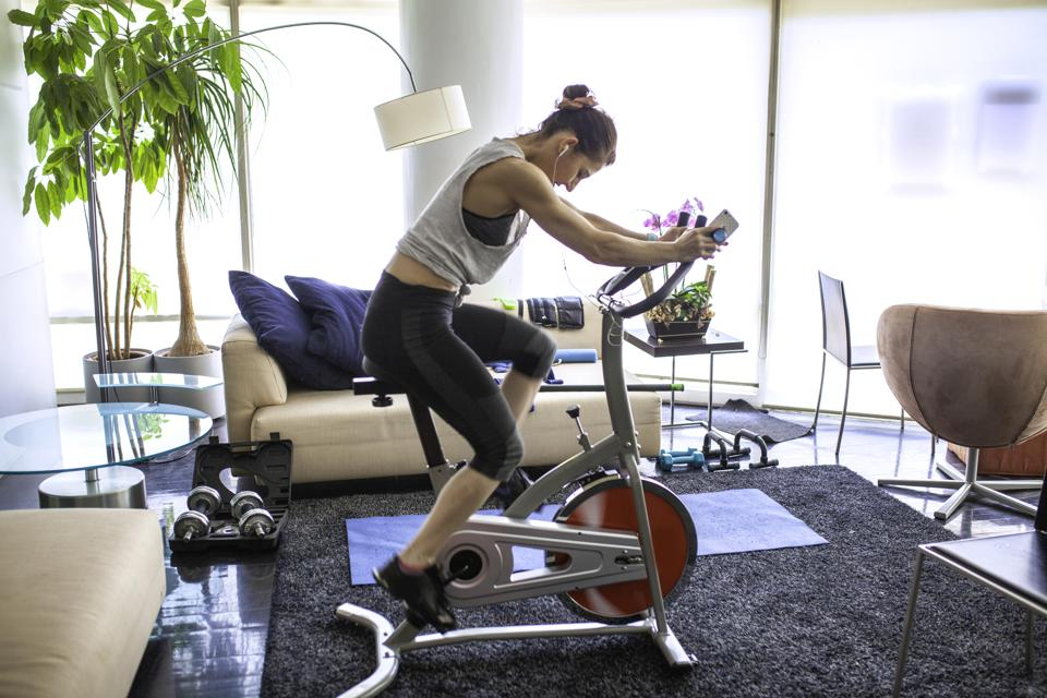 Home Gym cycing indoors at living room