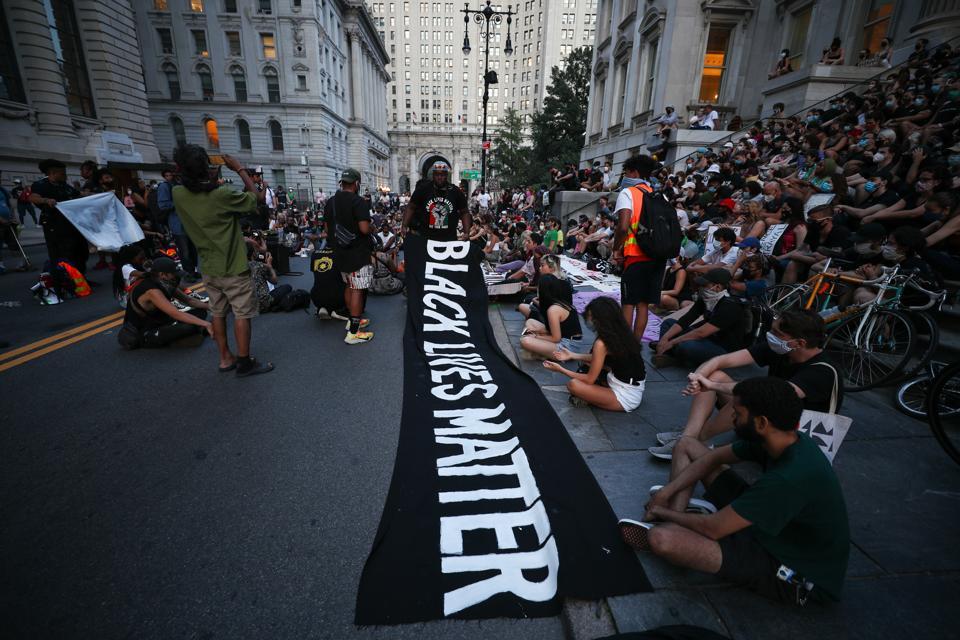 Anti-racism protestors occupied the New York City Hall Park