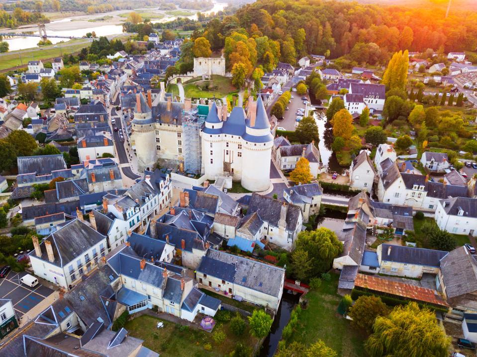 Landscape of Indre-et-Loire department with Chateau de Langeais
