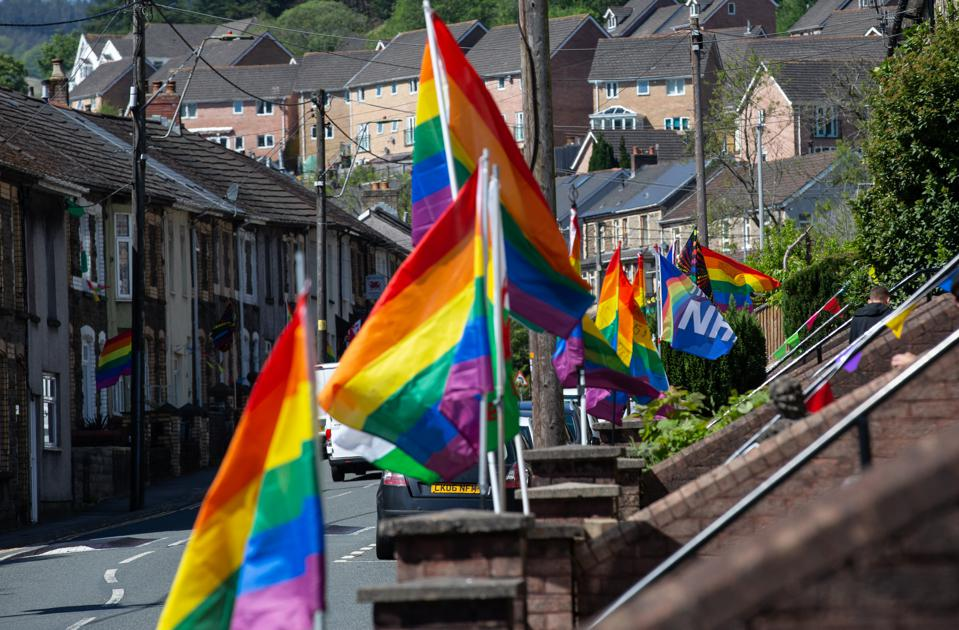 Rainbow flags traditionally associated with LGBT+ pride used to show solidarity with key workers.