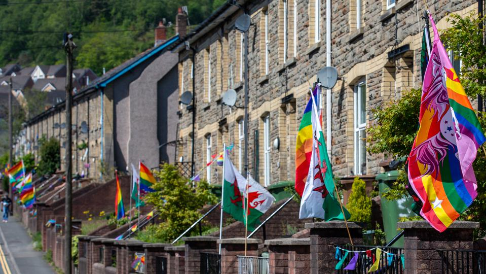 WATTSVILLE WALES - MAY 7:  Wattsville a Village in the Gwent valleys have decorated their houses with LGBT rainbow flags showing support for the NHS, carers, Key workers on MAY 7, 2020 in Blackwood, United Kingdom.