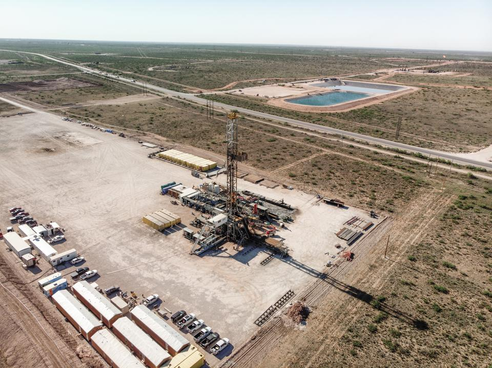 Aerial View Of An Oil Platform, Fracking, Drill Rig, In West Texas