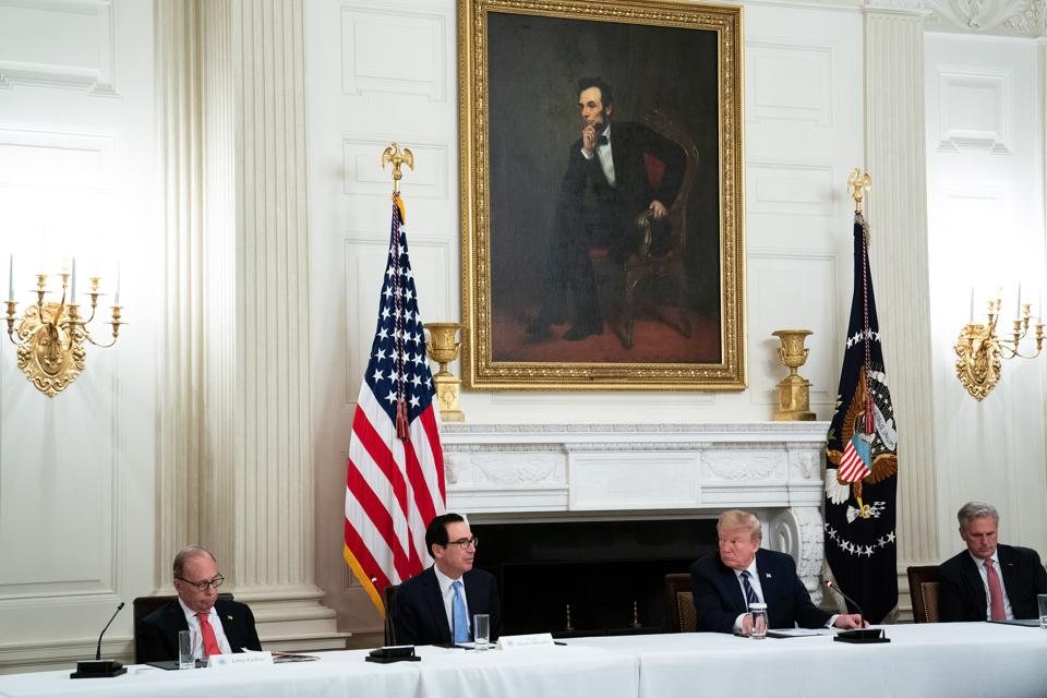 President Trump Meets With Republican Congress Members In State Dining Room At The White House