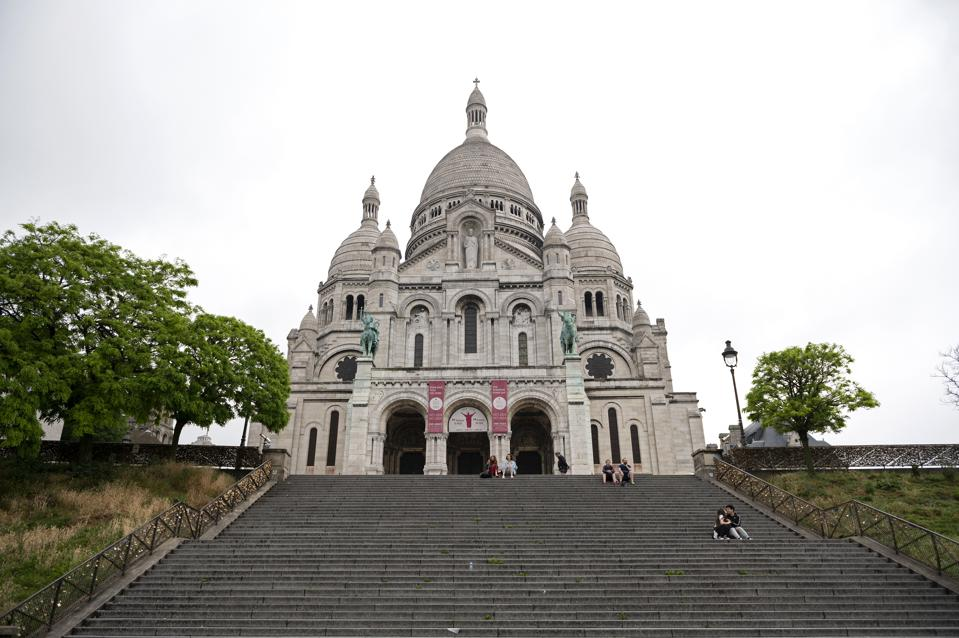 Sacré Coeur cathedral, Paris during the Covid-19 pandemic on May 10, 2020.
