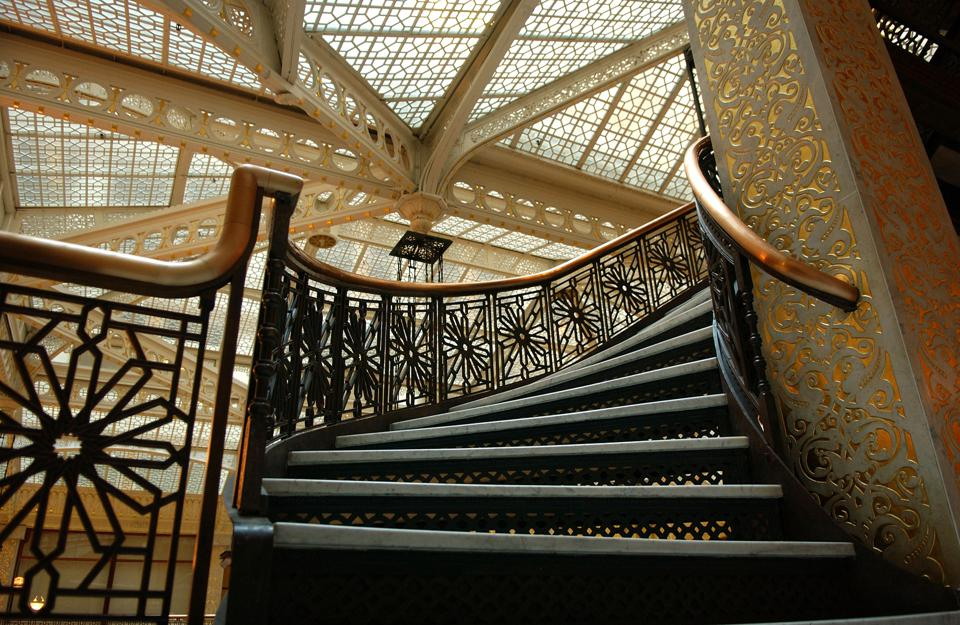 An ornate staircase in Rockery Building