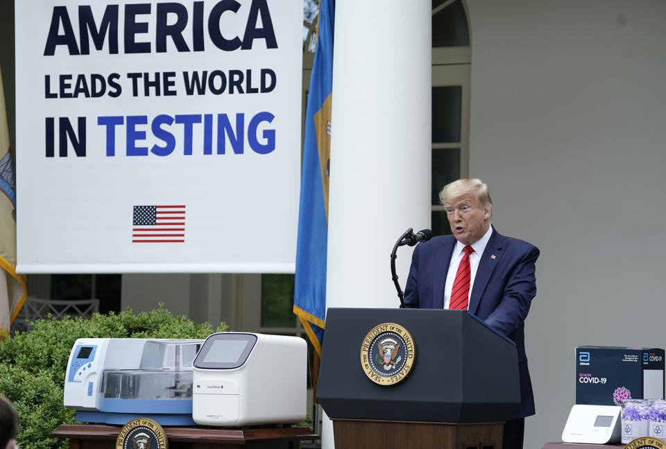 President Trump Delivers Remarks At The White House On COVID-19 Testing