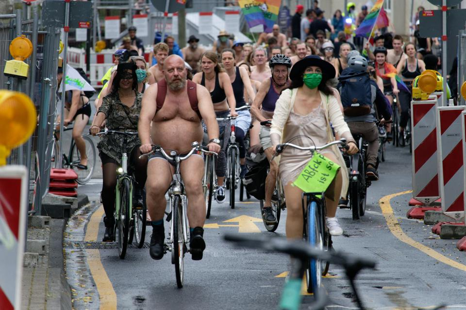 Naked bike riders in Cologne, Germany.