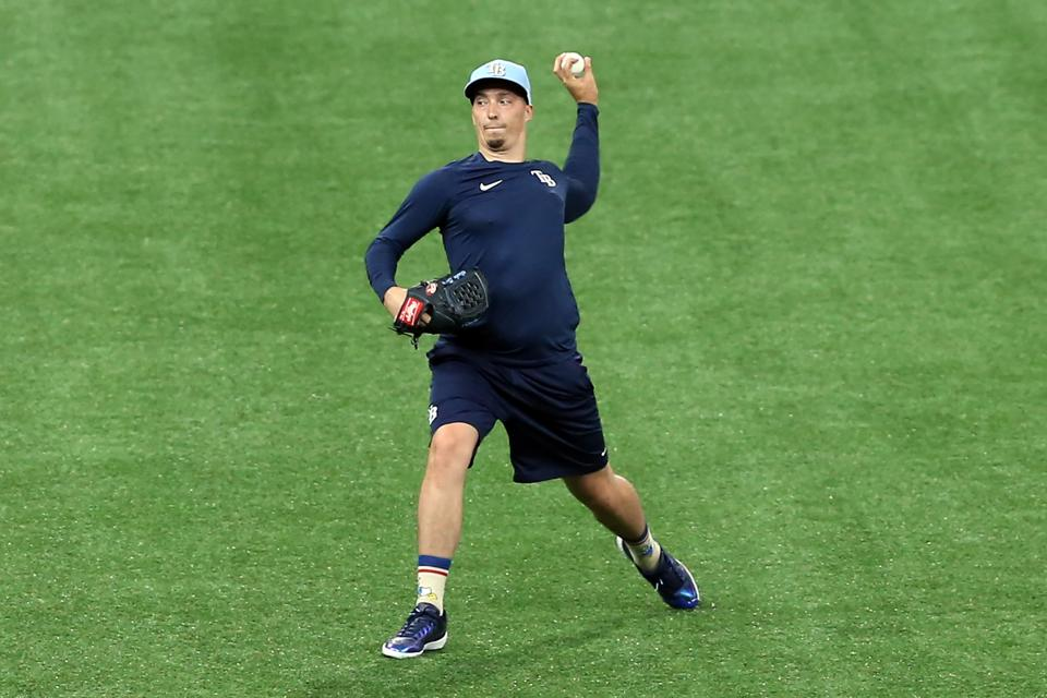 Rays pitcher Blake Snell working out during 2020 summer camp at Tropicana Field.